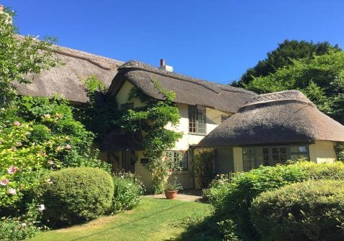 Thatched self catering cottage in the New Forest with picturesque gardens surrounding this holiday home