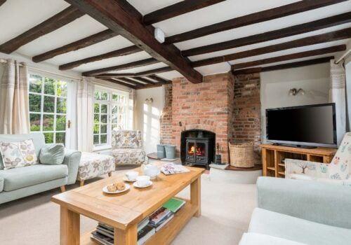 Beck Cottage Lounge with wood burner