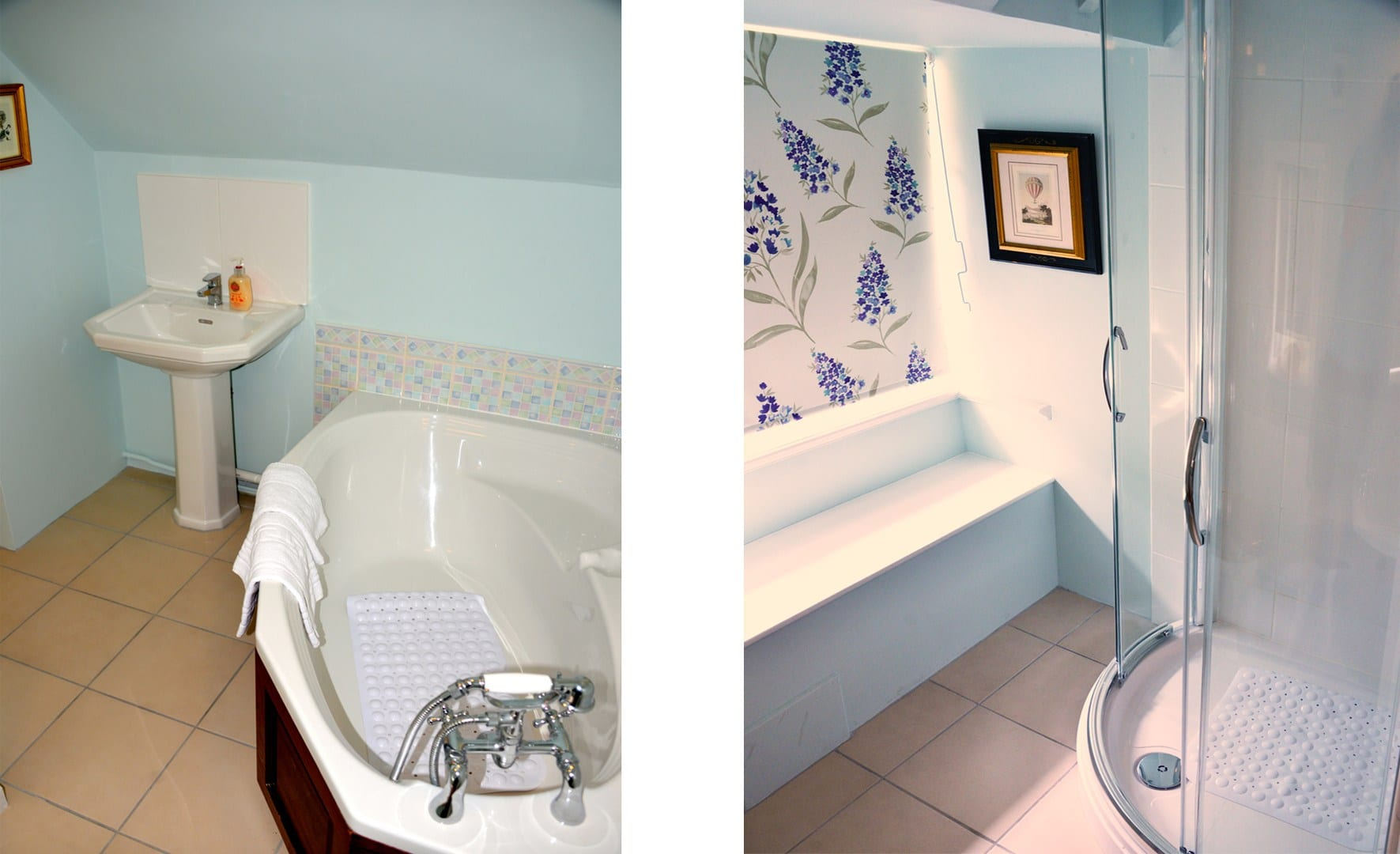 Beck Cottage family bathroom with corner bath and shower cubicle and ...