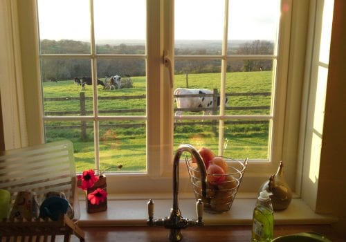 Fantastic views across the fields at Cinders Cottage