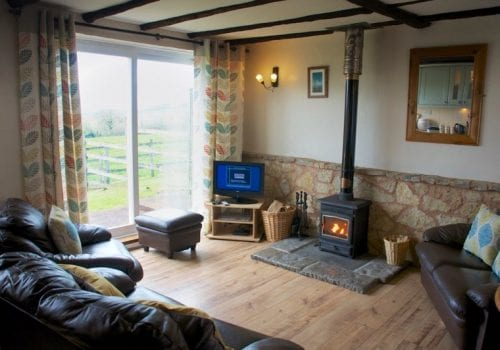 Cosy lounge at Coshes Cottage with log burner