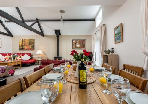 New Forest Self Catering Dining Table with wine