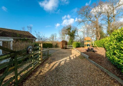 New Forest Holiday Homes secure gated entrance and parking area