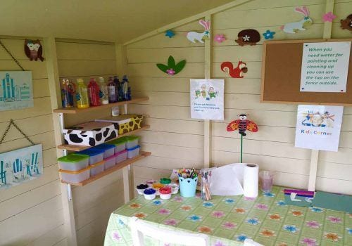 Craft hut available for children visiting South Farm