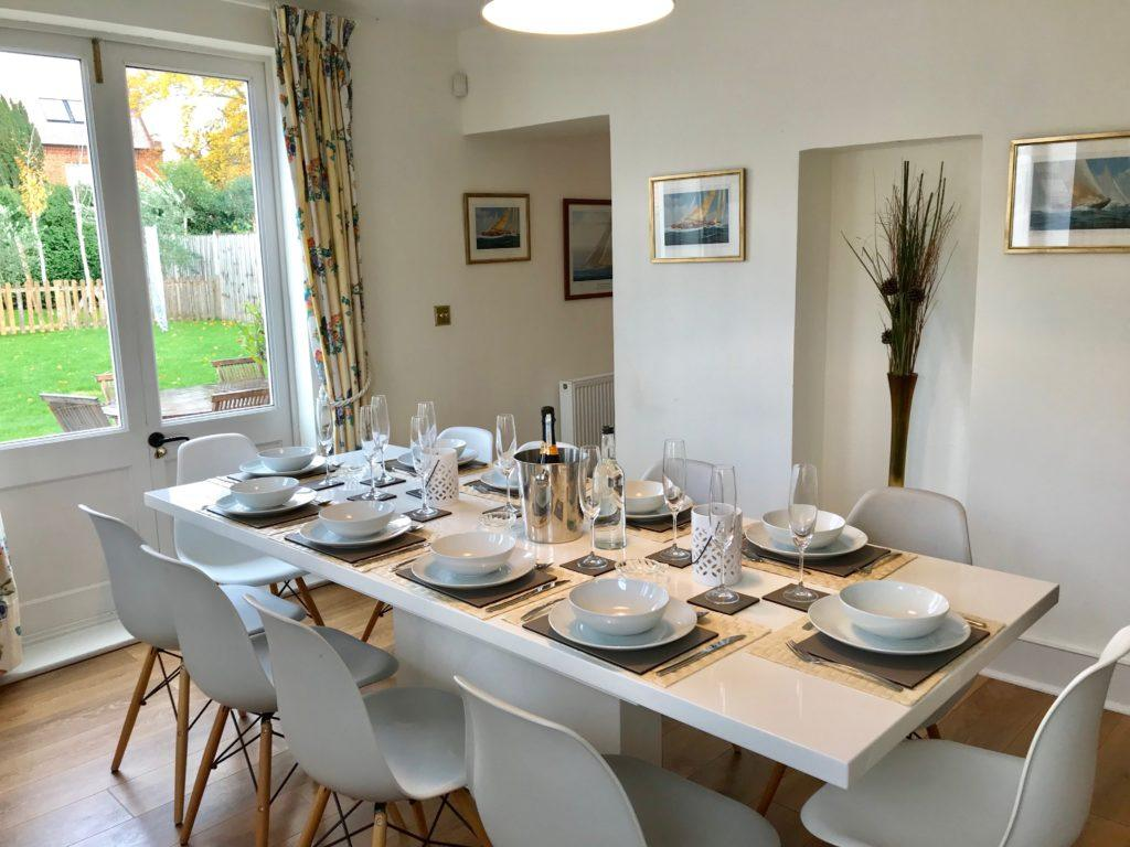 Lovely bright dining room with seating for 10 in self catering Dorset Holiday let