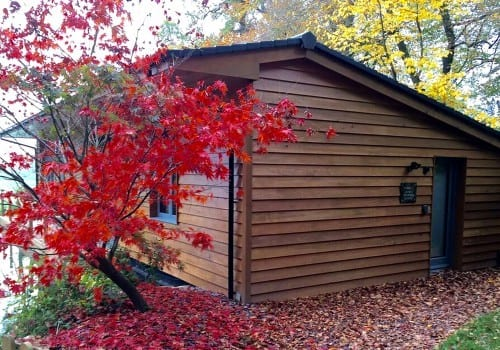 Striking Autumnal colours surround the lodge