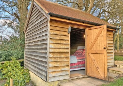 A converted shed makes a wonderful Glamping Pod