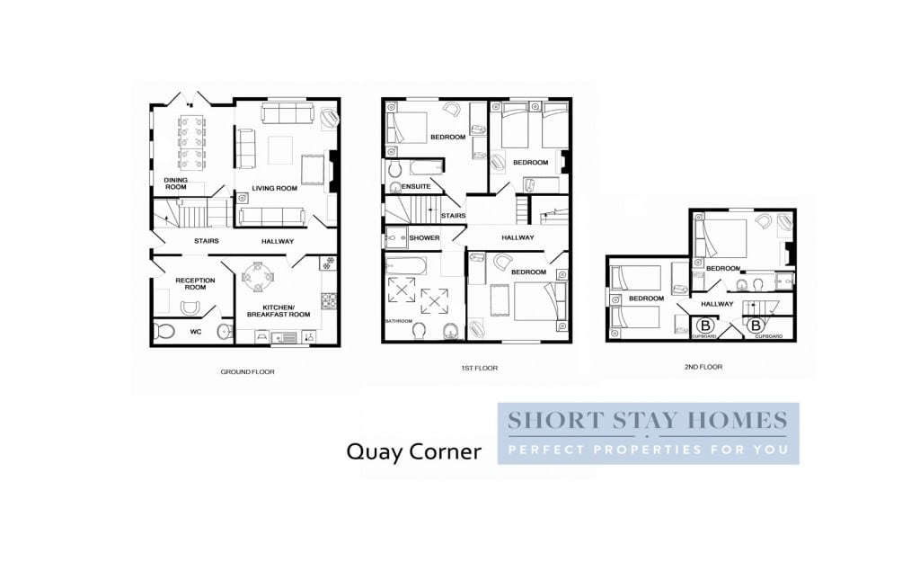 Floorplan to Quay Corner a self catering holiday let in Christchurch Dorset
