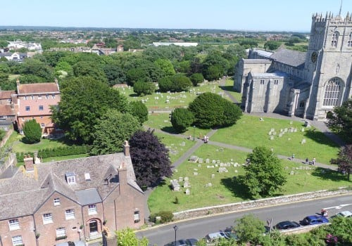 Aerial shot of Quay House with Christchurch Priory