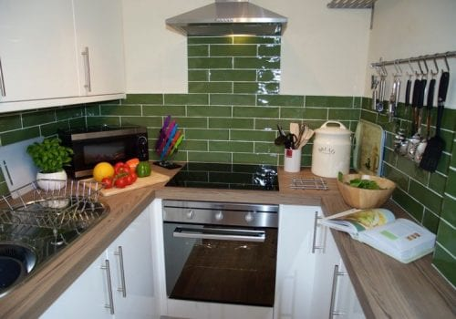 The smart kitchen at Stables Cottage with plenty of worktop space