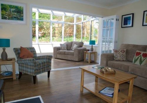 The smart spacious lounge at Stable Cottage