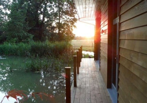 The sun just setting our Riverside Lodge self catering accommodation