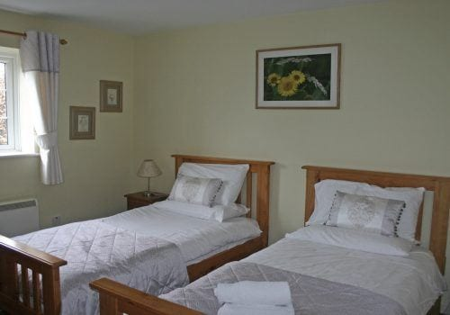Twin bedroom in self catering house in the New Forest