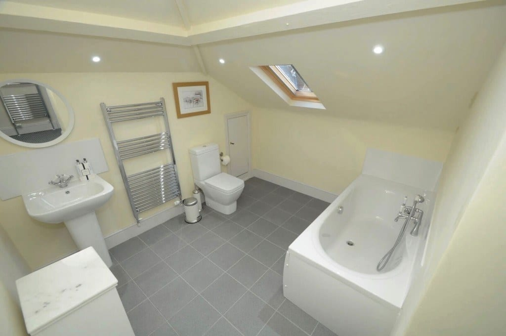 Bathroom in the eaves in Self Catering Dorset holiday let Quay Corner