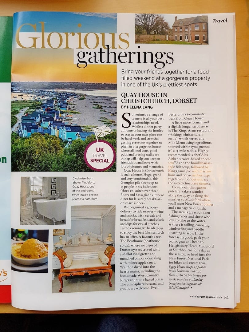 Article in Sainsburys magazine promoting Quay House