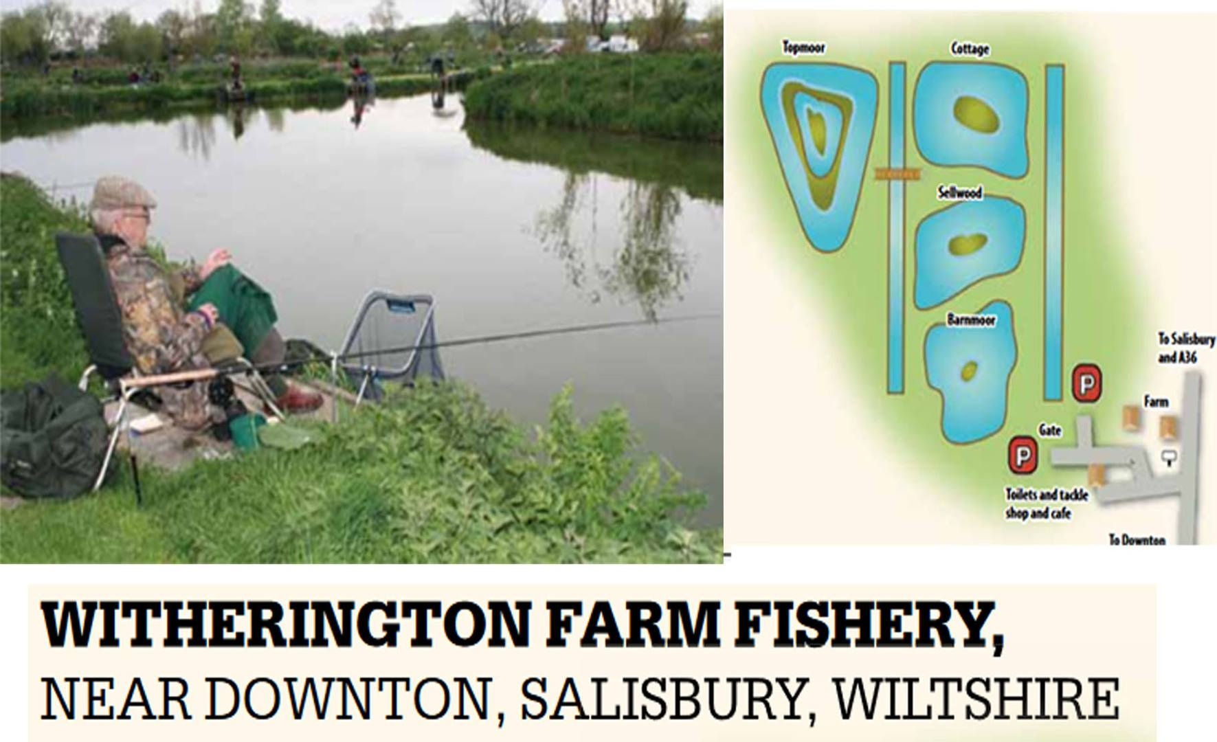 Information and map advertising Witherington Farm Fishery
