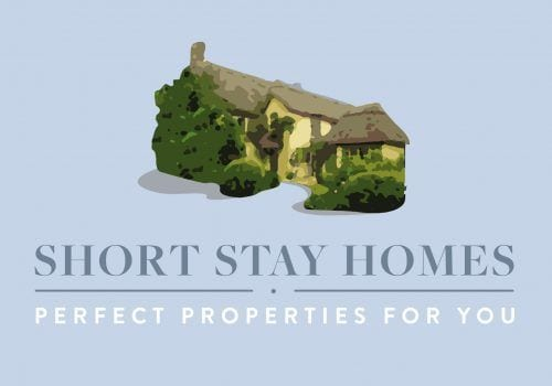 Short Stay Homes logo on a blue background