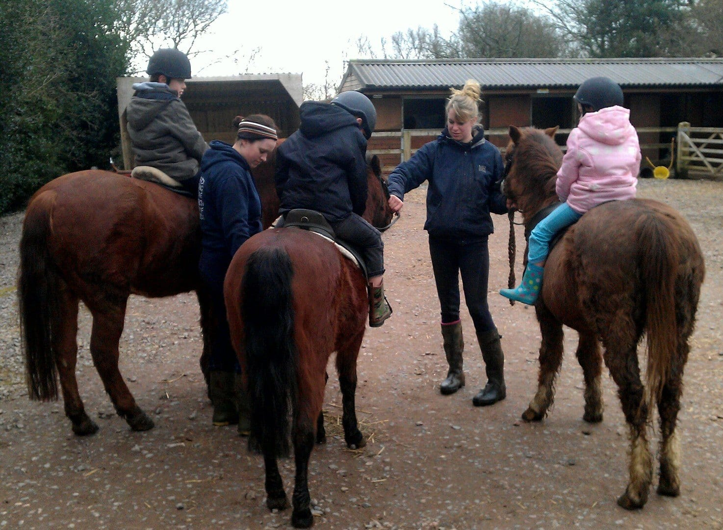 Children getting ready for a ride out on the horses