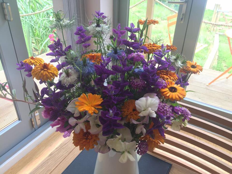 Beautiful flowers on arrival for our guests at Riverside Lodge