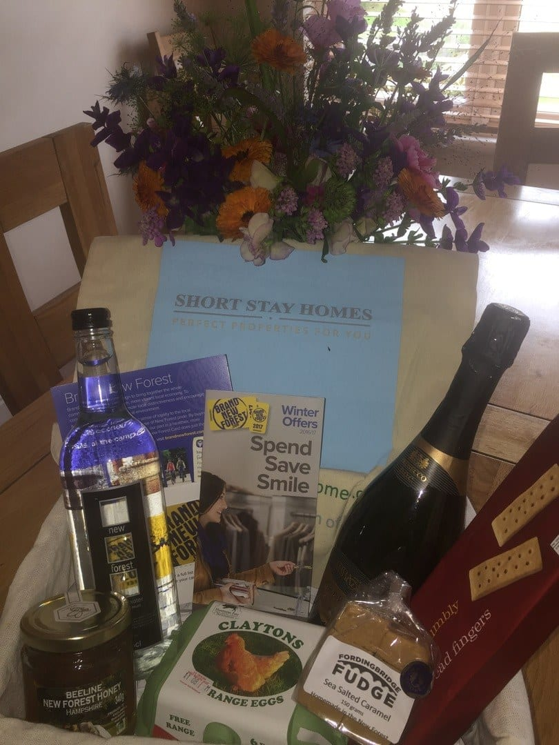 Luxury hamper and flowers on arrival for guests
