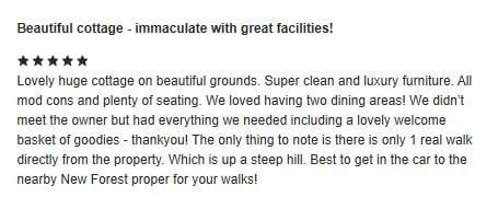 Beck Cottage 5 Star Review!