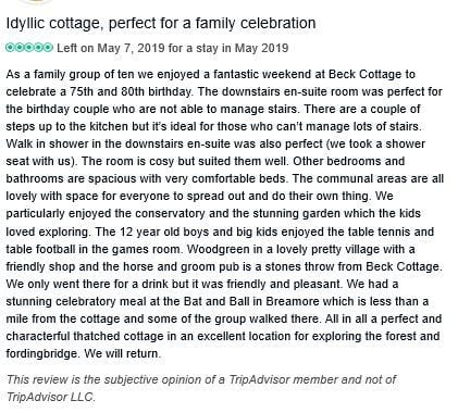 Beck Cottage 5 star review