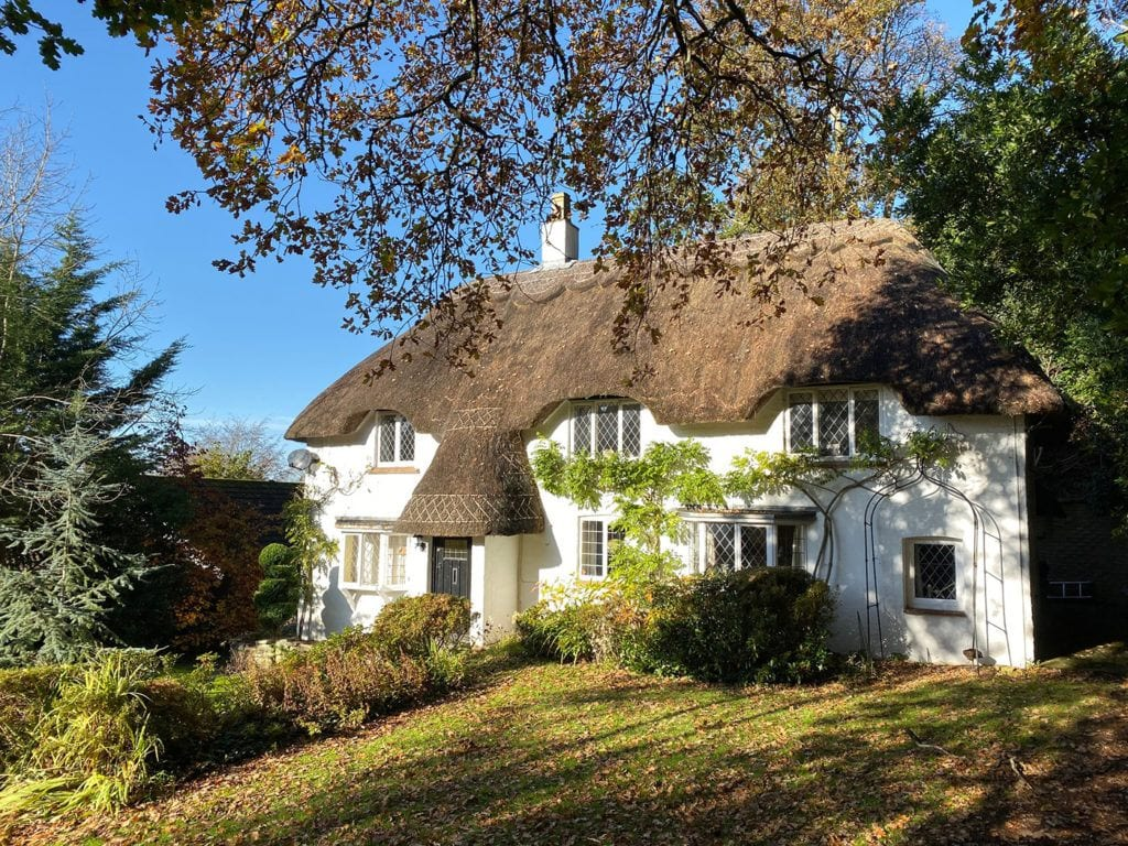 Forest Drove holiday let home with beautiful thatch roof and lead windows