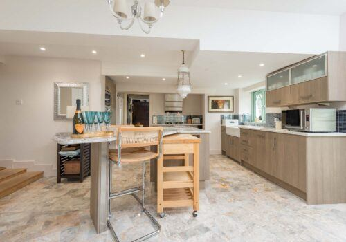 New Forest Holiday home Kitchen with breakfast bar Forest Drove