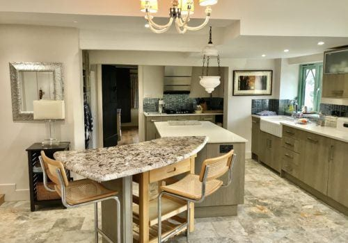 Contemporary marble kitchen in New Forest Thatched Cottage