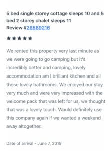 Mews Hill 5 star Homeaway review better than camping