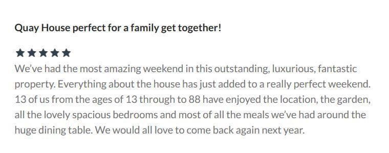 5 Star review from Homeaway for Quay House