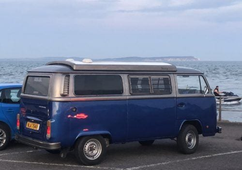Blue VW Campervan at Mudeford Quay