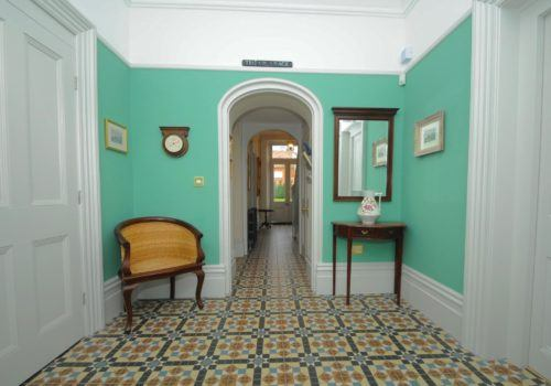 A Georgian inspired entrance to this Christchurch holiday property