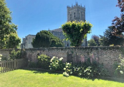 Views of the Priory from the gardens of The Quays