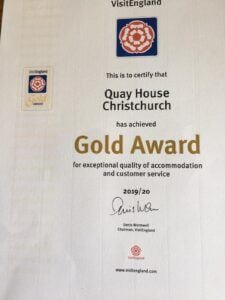 The gold award from visit england for quay house self catering big house in dorset