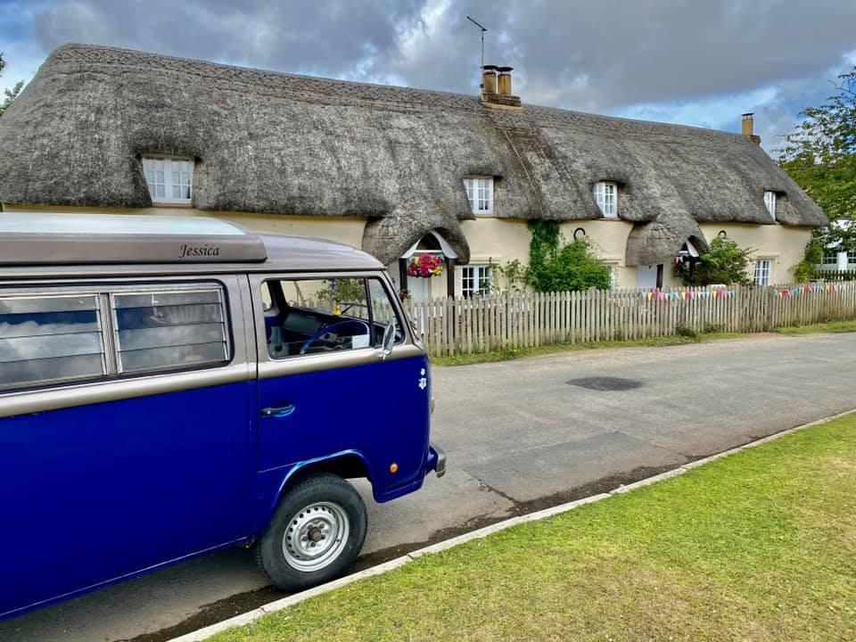 V W camper van and new Forest Thatched Cottage