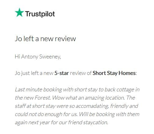 5* Trust pilot review for Beck Cottage