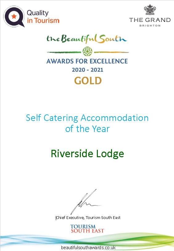 Certificate for Riverside Lodge Berautiful South Award 2021
