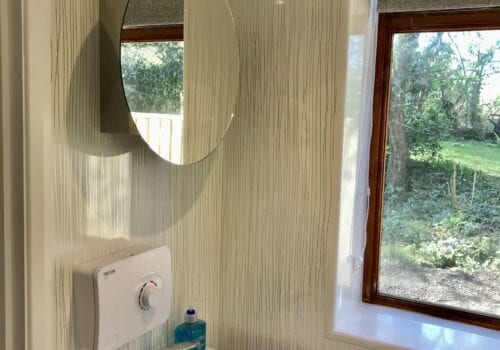 Bathroom facilities in the garden at Beck Cottage
