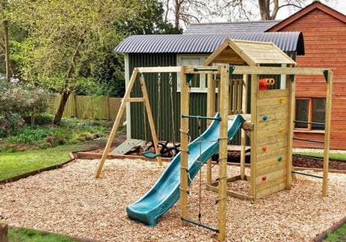 Childrens climbing frame in holiday let cottage