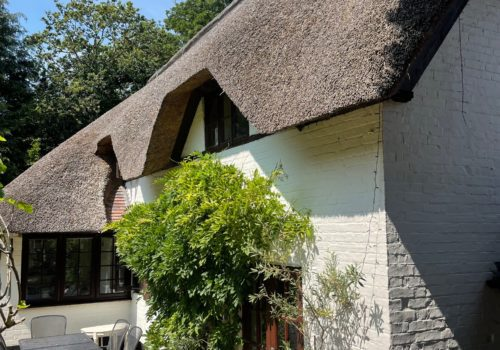 Lovely sun trap in front of thatched cottage