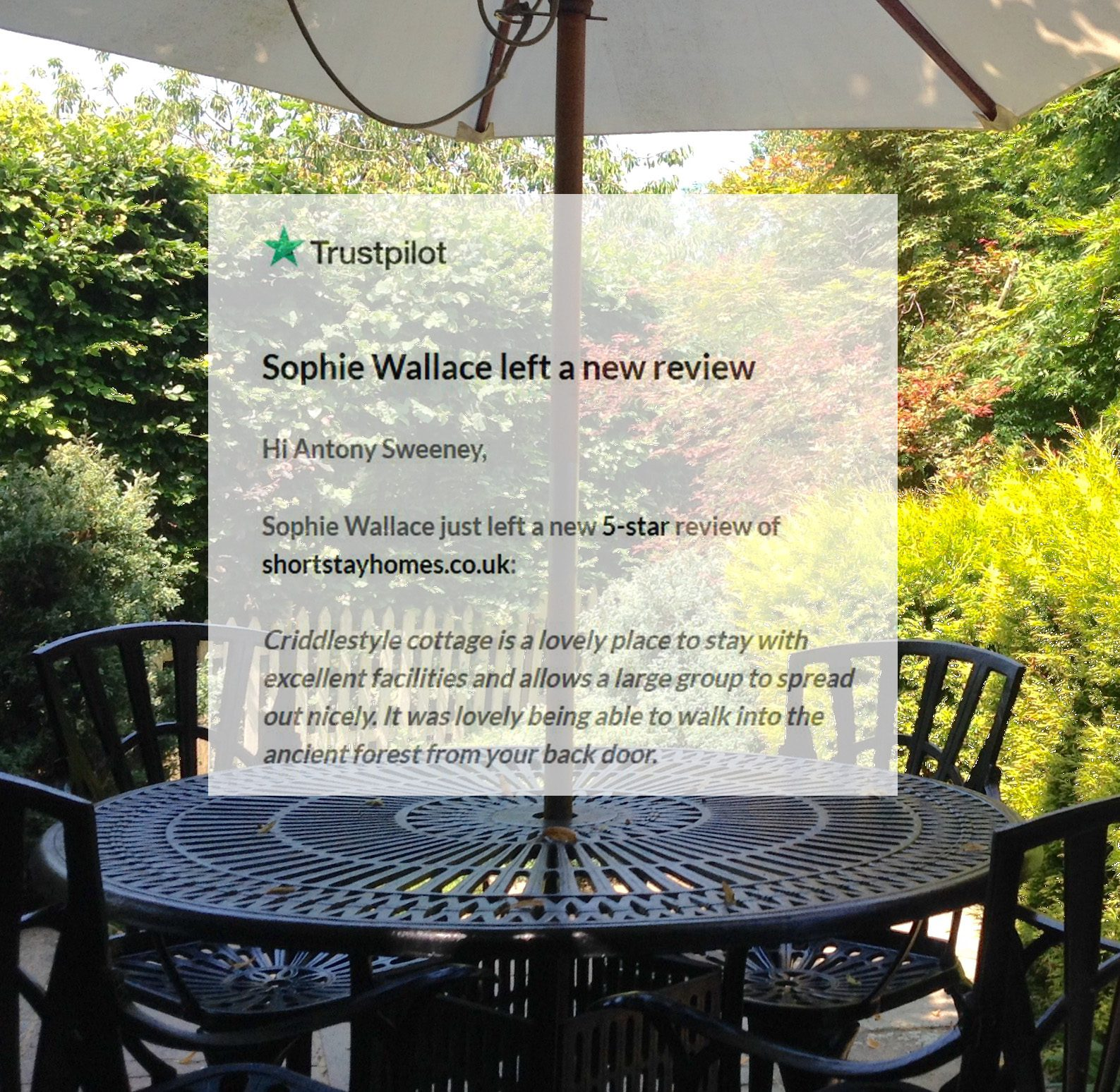 Criddlestyle Cottage 5-star Airbnb review